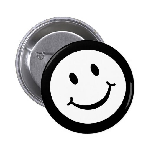 Smile button badge in black and white