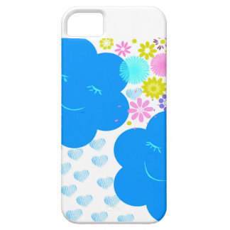 Smile,Clouds,hearts,flowers,blue,pink,yellow. Barely There iPhone 5 Case