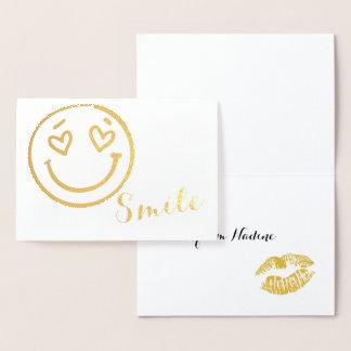 Smile Emoji gold foil card