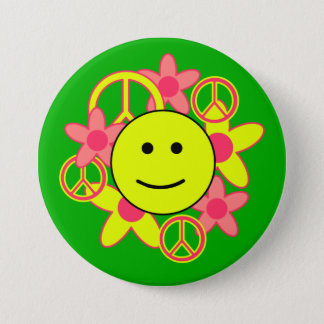 Smile Face with Peace Signs and Flowers 7.5 Cm Round Badge