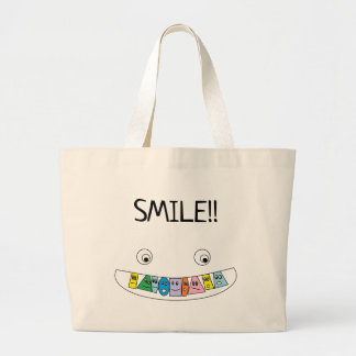 SMILE Fun Smiley Toothy Mouth Print Large Tote Bag
