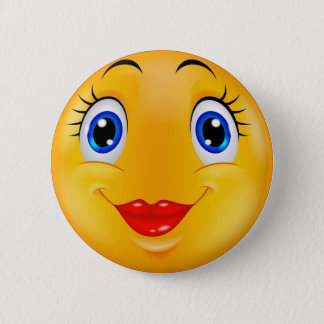 Smile girl 6 cm round badge