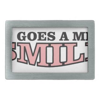 smile goes a mile rectangular belt buckles