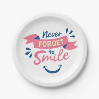 Smile, Happiness Attitude Pink Wedding, Party Paper Plate