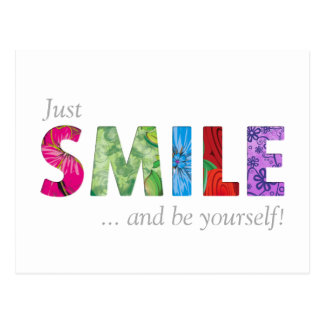 Smile Happy Quote 02 - Be YourSelf Postcard