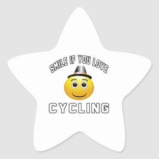Smile if you love Cycling. Star Sticker