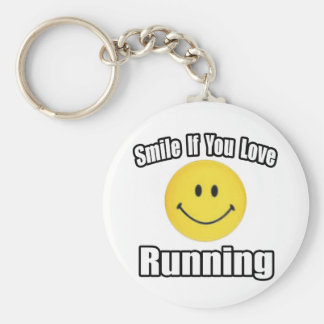 Smile If You Love Running Basic Round Button Key Ring