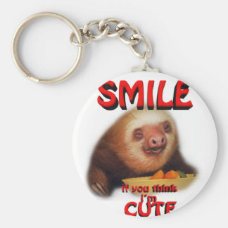 smile if you think i'm cute. basic round button key ring