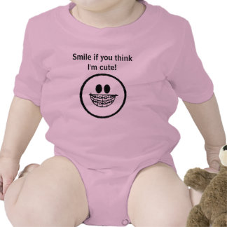 Smile if you think I'm cute Infant Tee Shirts