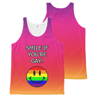 Smile if you're gay pink All-Over print singlet