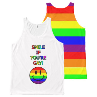 Smile if you're gay rainbow All-Over print singlet