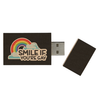 Smile If You're Gay Rainbow LGBT Pride Wood USB Flash Drive
