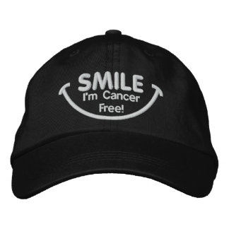 Smile I'm Cancer Free White Embroidered Hat