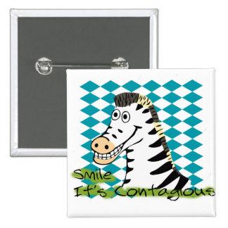 Smile It s Contagious Zebra Button Pin
