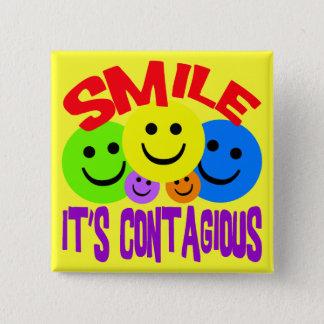 SMILE IT'S CONTAGIOUS 15 CM SQUARE BADGE