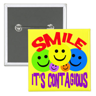 SMILE IT'S CONTAGIOUS 15 CM SQUARE BADGE