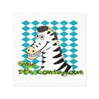 Smile It's Contagious Zebra Canvas Print