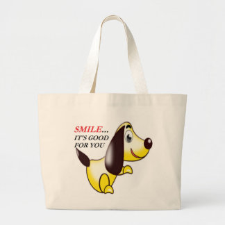 SMILE ... IT'S GOOD FOR YOU LARGE TOTE BAG