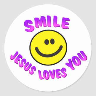 Smile, Jesus Loves You Classic Round Sticker