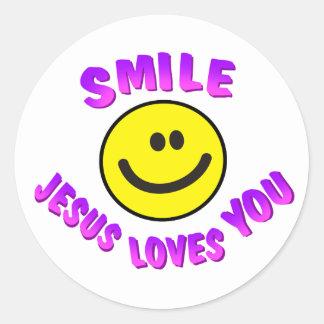 Smile, Jesus Loves You Round Sticker
