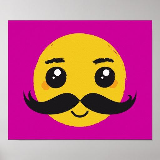 Smile Kawaii Moustache Poster