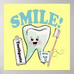 Smile Kawaii Tooth Art Posters