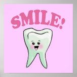 Smile Kawaii Tooth Art Print