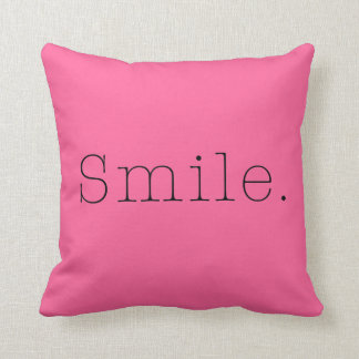 Smile. Light Hot Pink And Black Smile Quote Cushion