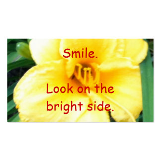 Smile Look on the bright side, yellow flower cards Pack Of Standard Business Cards