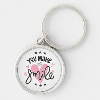 Smile Love Note  Pink Hearts Wedding Bridal Quote Key Ring