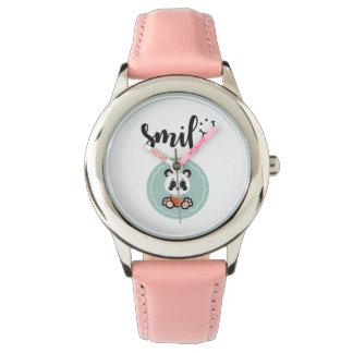 Smile Panda Stainless Steel Kids Watch - Pink