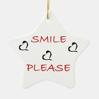 Smile Please Ceramic Star Decoration