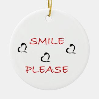 Smile Please Round Ceramic Decoration