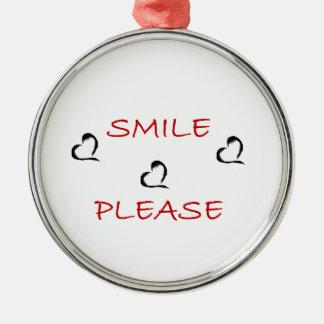 Smile Please Silver-Colored Round Decoration