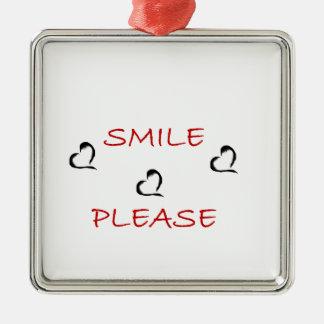 Smile Please Silver-Colored Square Decoration