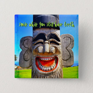 """""""Smile"""" quote fun laughing teeth face photo button"""
