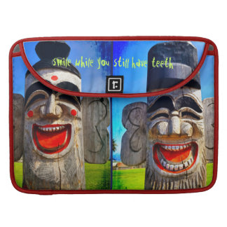 """""""Smile"""" Quote Fun Laughing Teeth Wood Face Photo Sleeve For MacBooks"""