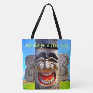 """Smile"" quote funny laughing wooden face photo Tote Bag"