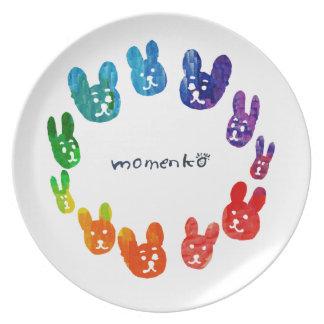 smile rabbits circle rainbow dinner plates
