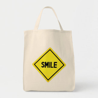 Smile Road Sign Grocery Tote Bag
