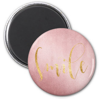 Smile Rose Gold Greenly Friends Encouragement 6 Cm Round Magnet