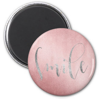 Smile Rose Silver Gray Friends Encouragement 6 Cm Round Magnet
