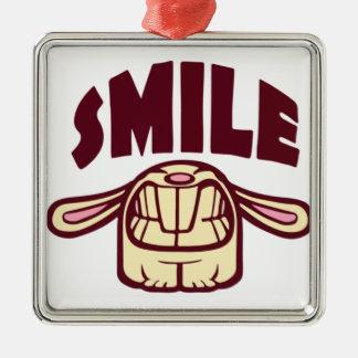 Smile Silver-Colored Square Decoration