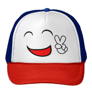 Smile Smiley Face Peace Sign Cute Trucker's Hat