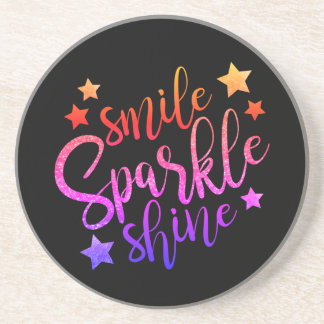 Smile Sparkle Shine Black Inspirational Quote Coaster