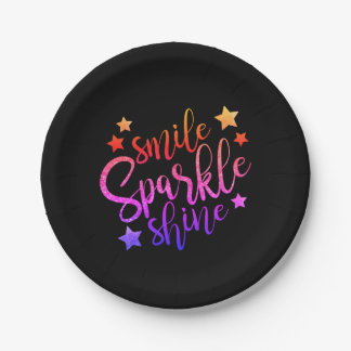 Smile Sparkle Shine Black Multi Coloured Paper Plate