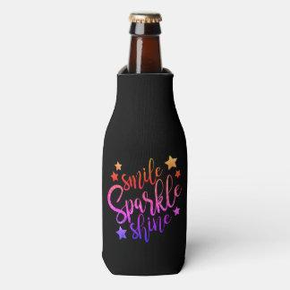 Smile Sparkle Shine Black Multi Coloured Quote Bottle Cooler