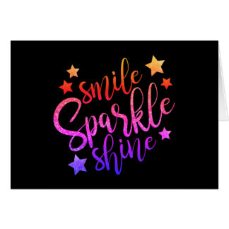 Smile Sparkle Shine Black Multi Coloured Quote Card