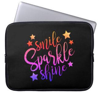 Smile Sparkle Shine Black Multi Coloured Quote Laptop Sleeve