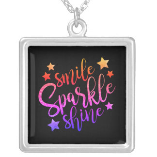 Smile Sparkle Shine Black Multi Coloured Quote Silver Plated Necklace